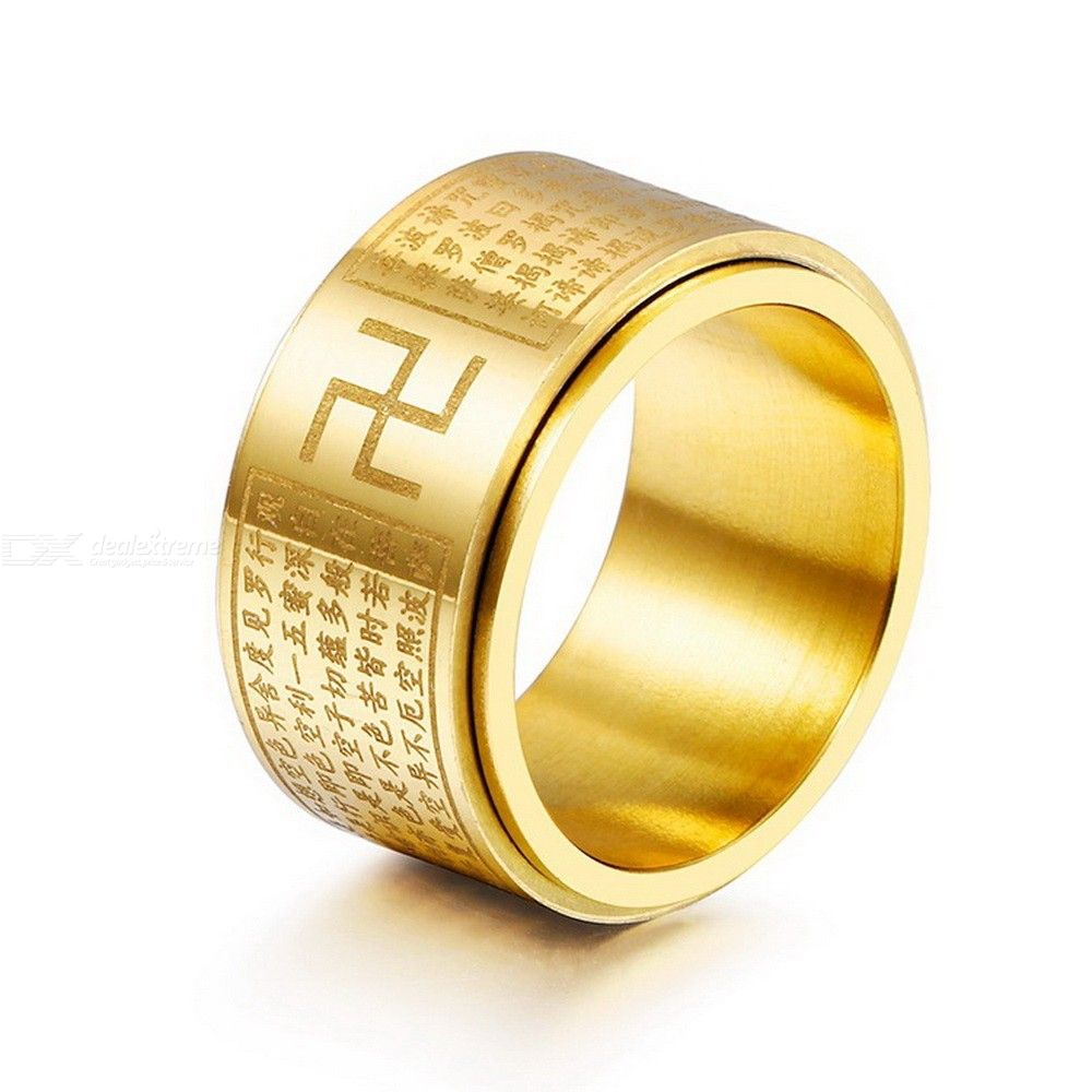 Stainless Steel Buddhism Swastika Prayer Religious Jewelry Wide Rotating Finger Ring For Men фото