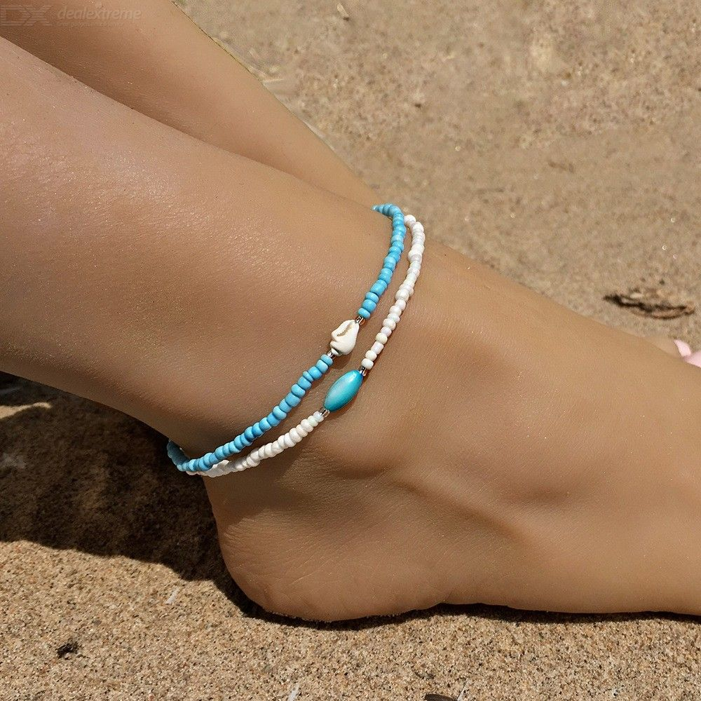 Bohemian Handmade 2-Piece Set Blue White Conch Beads Beach Anklet Ankle Bracelet Foot Chain Jewelry For Girls Ladies - from $2.19
