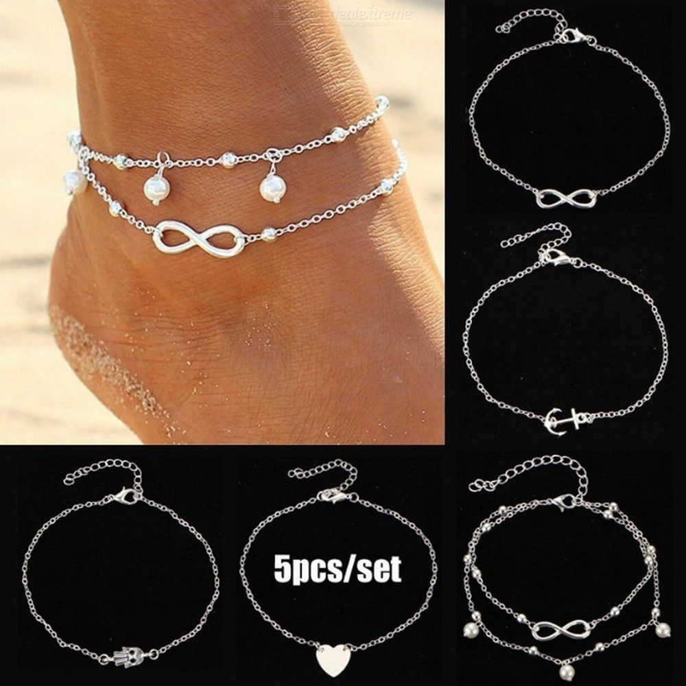 Fashion Chic 5-Piece Set Heart Pearl Pendant Alloy Anklet Foot Chain Jewelry For Girls Ladies