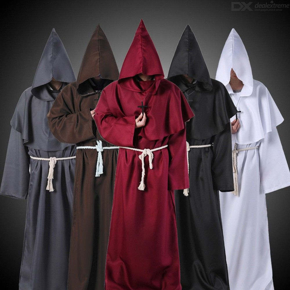 Halloween Cosplay Costume Hooded Monk Robe For Costume Play Party Stage Play