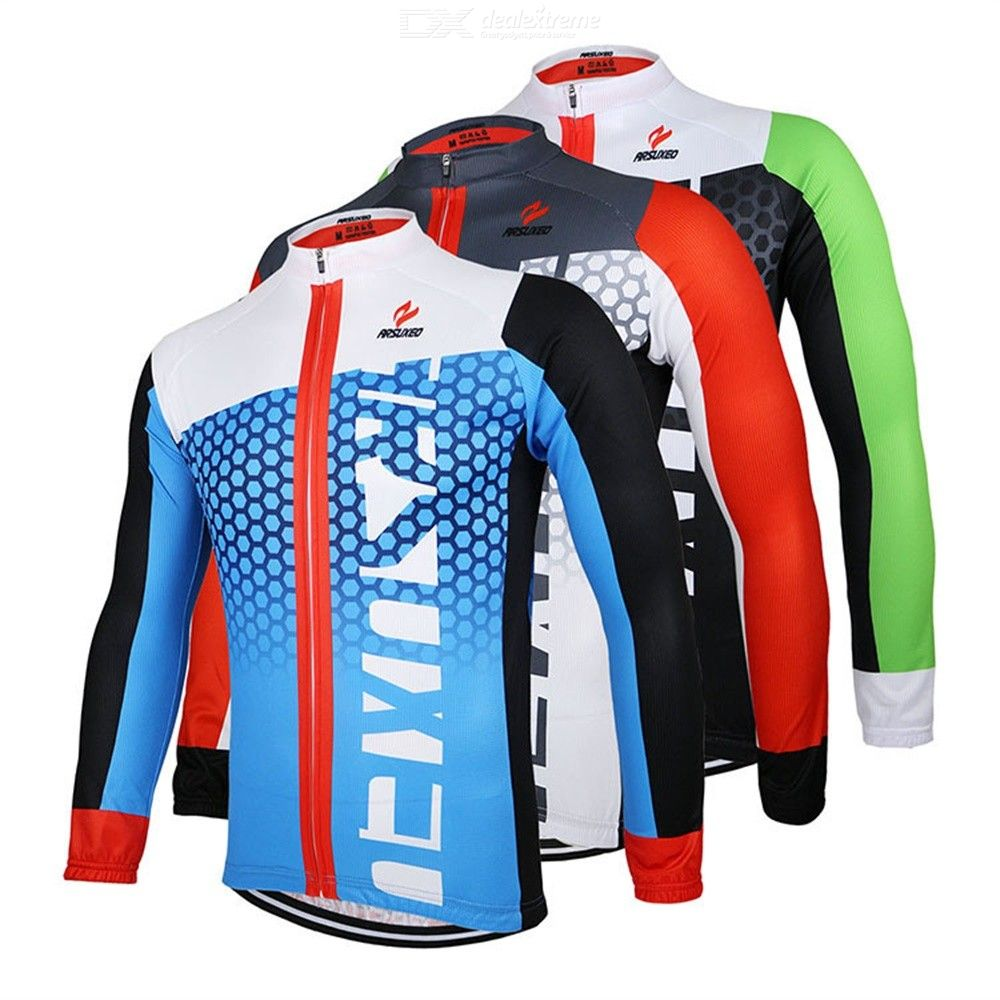 ARSUXEO Mens Cycling Jacket UPF40 + Quick-Dry Breathable Long Sleeve Bike Coat