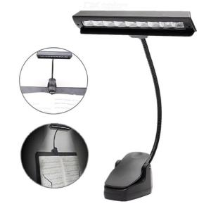 USB Charging 9-LED Clip-on Music Stand Clamp Night Light Bed Table Desk Reading Lamp