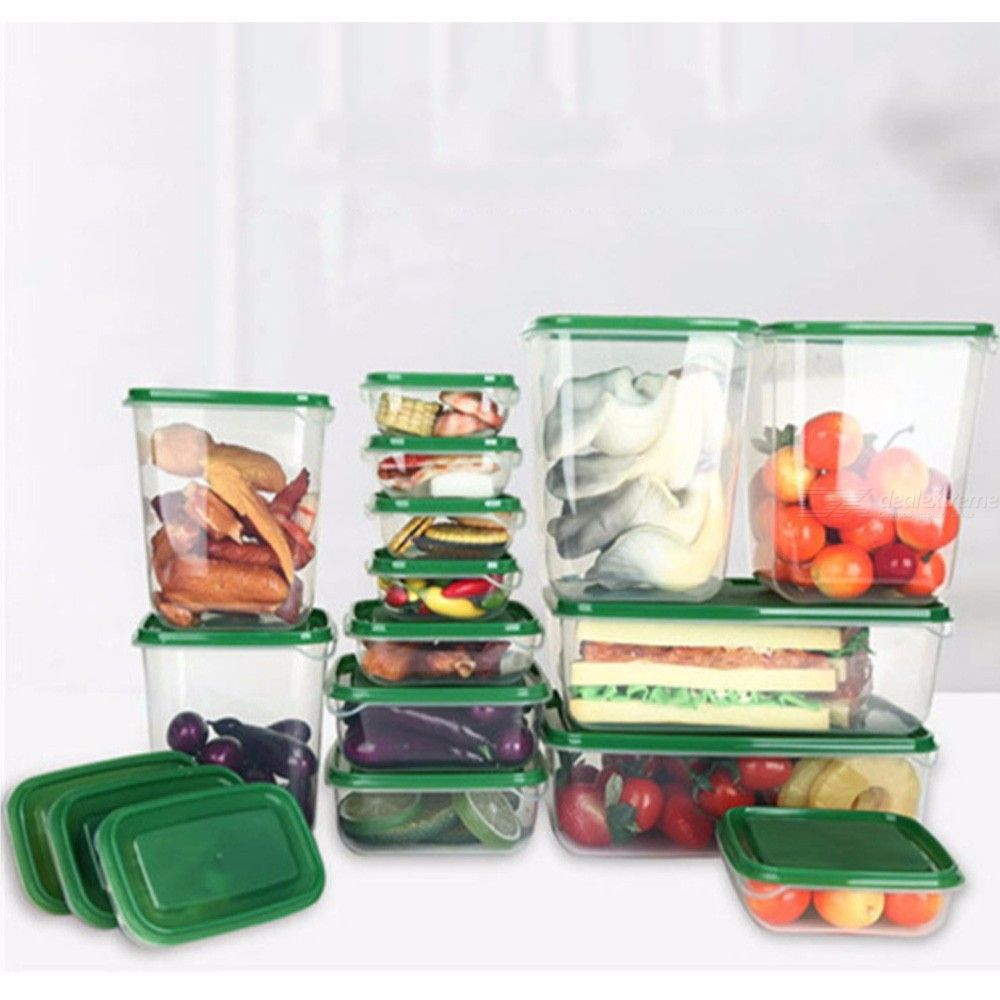 17Pcs Multifunctional Plastic Lunch Box Set Green Oven Safe Kitchen Food Storage Container Kit