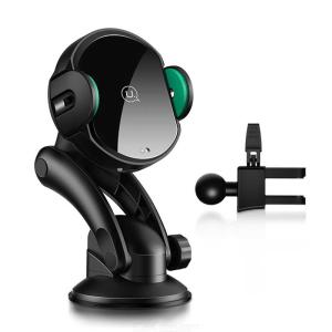 USAMS 2-in-1 Suction Cup 10W Wireless Infrared Sensor Automatic Car Air Vent Charger, Gravity Holder Quick Charge Charging Stand