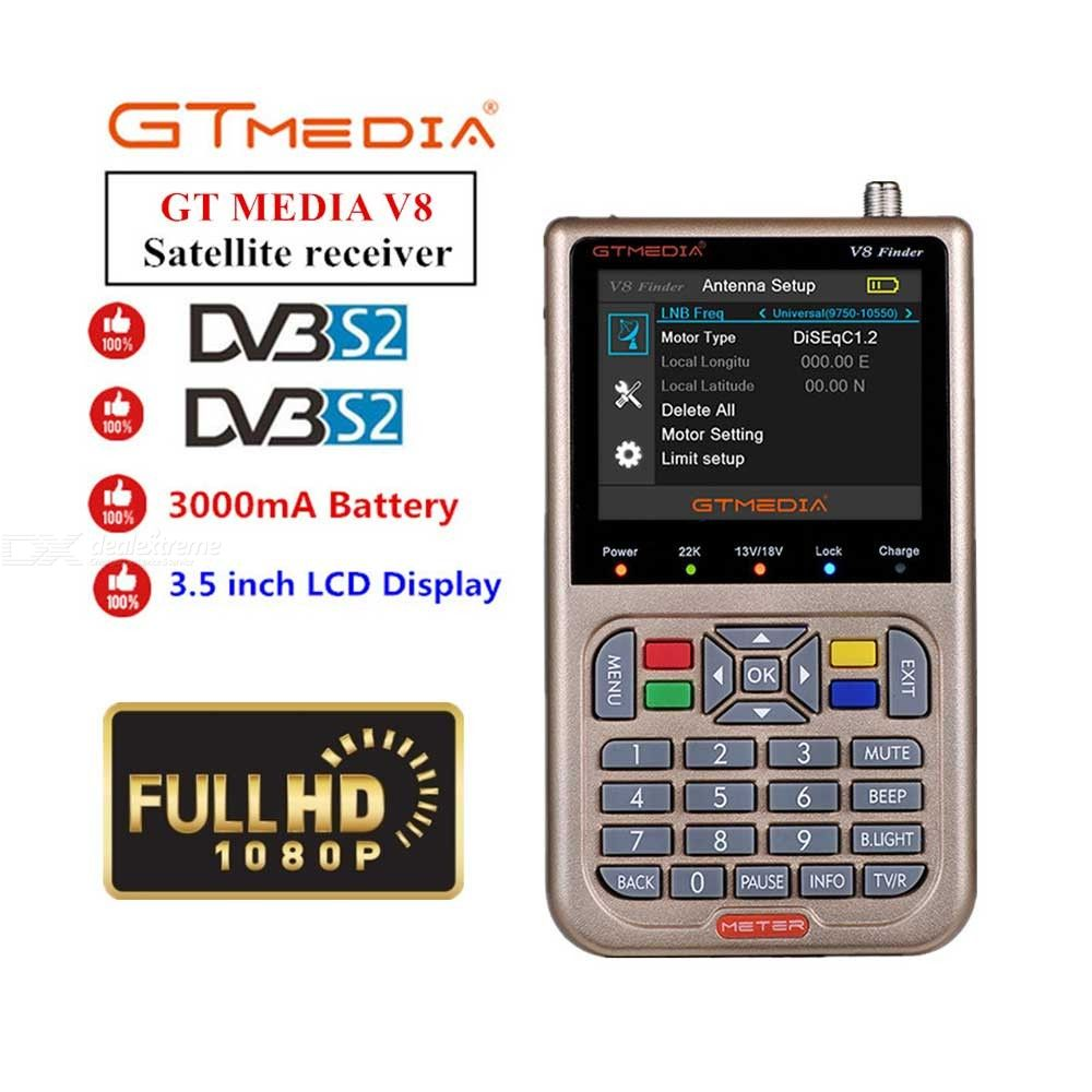 GT MEDIA Freesat V8 HD DVB-S2 Digital Satellite Finder, High Definition  1080P Satellite Meter Satfinder - EU Plug