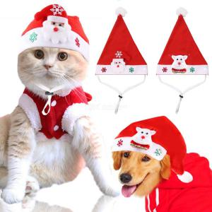 Pet Dogs Cats Christmas Hats Fesival Printed Puppy Teddy Dress Up Caps