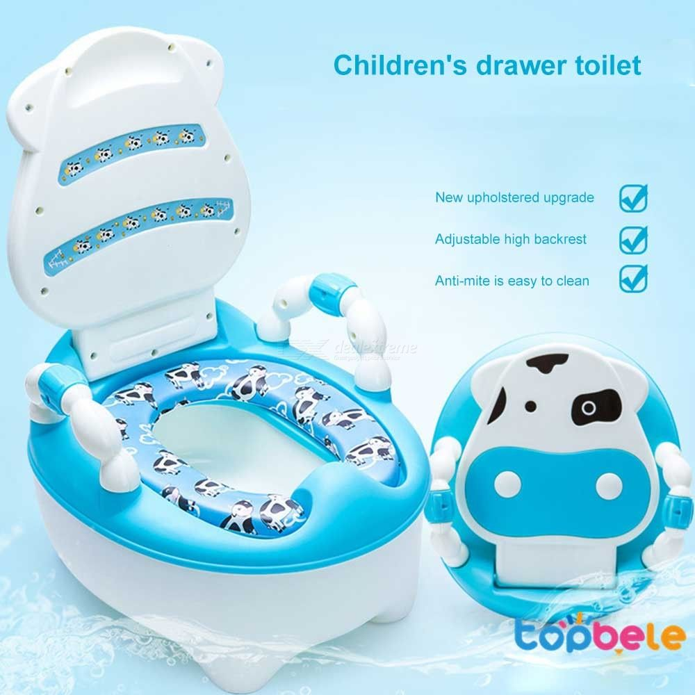 Comfort Backrest Baby Toilet Training Seat Cartoon Cow Drawer Type Child Urinal Potty With Soft Cushion And Brush