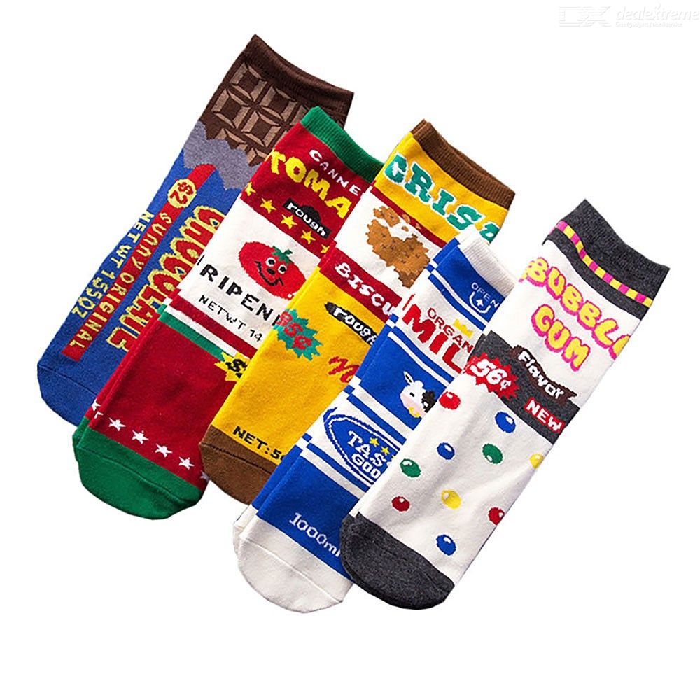 Half Strawberry Pattern Casual Cotton Crew Socks Cute Funny Sock,great For Sports And Hiking