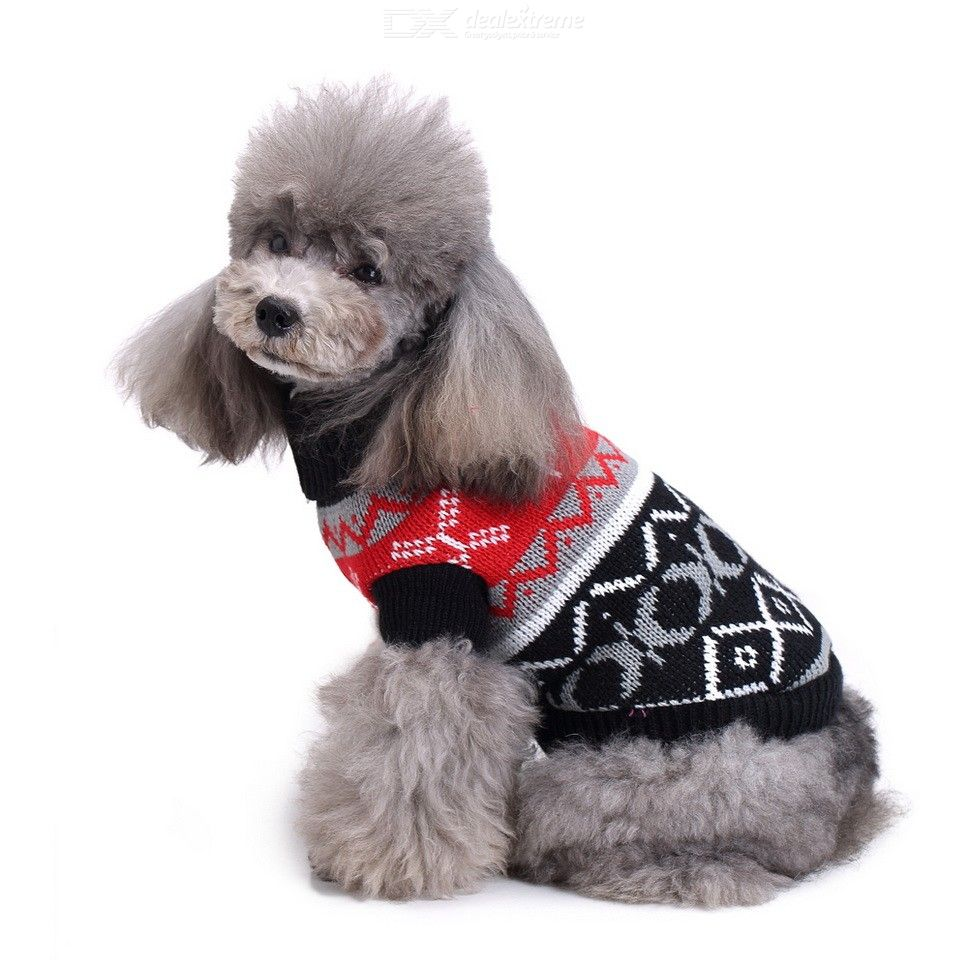 Autumn Winter Classic Cute Cartoon Pattern Pet Dog Puppy Knitted Sweater Coat Warm Clothes For Christmas