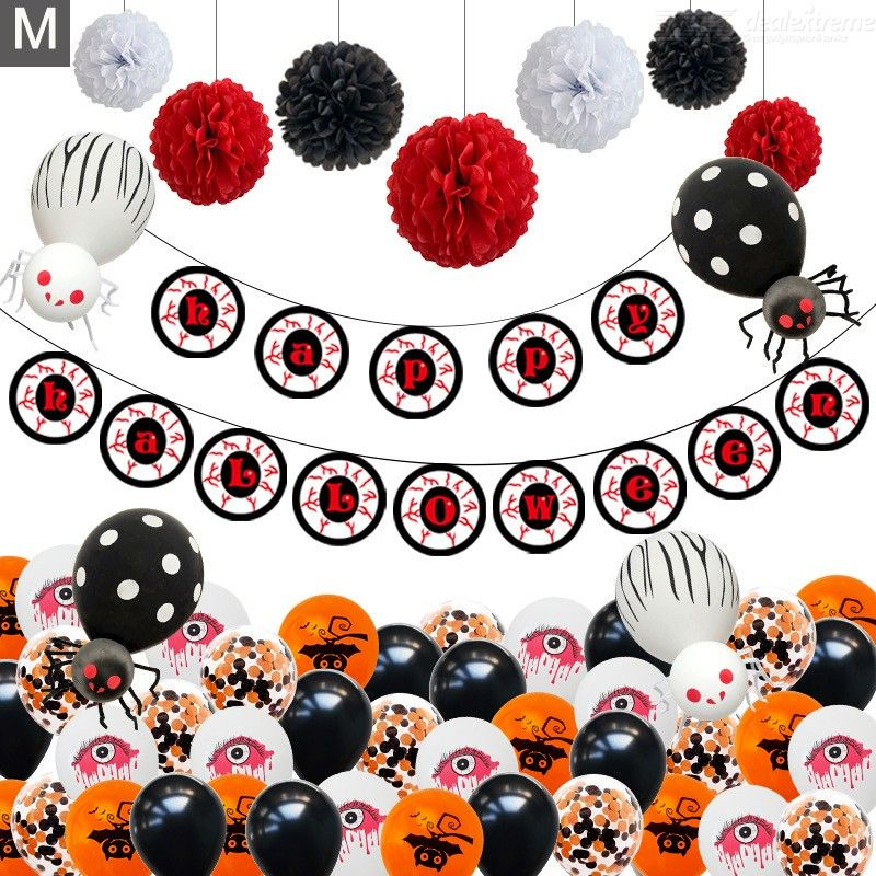 Decoration | Halloween | Balloon | Holiday | Devil | Party | Suit | Flag | Eye | Set