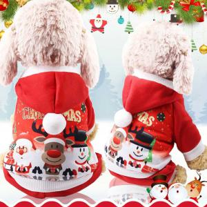 Pet Dogs Christmas Pullover Sweatshirts 4 Legs Fesival Printed Puppy Teddy Hoodied Shirts