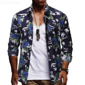 Men's Shirt Fashionable Casual Slim-fit Floral Printed Long Sleeve Shirts