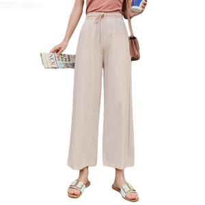Women's Wide-Leg Pants Summer Fashionable Casual Solid Color High Waist Ankle-length Straight Leg Pants