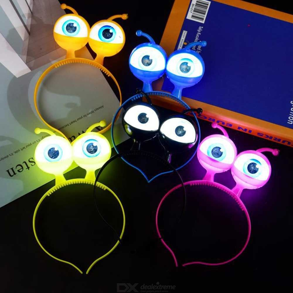 Flash LED Eyeball Headband Cute Big Eyes Hair Band Accessories Halloween Party Headwear Props - Random Color