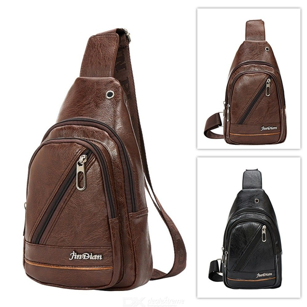 Men's Sling Bag With Earphones Hole PU Water-repellent Lightweight Crossbody Chest Bag For Walking Cycling Travelling