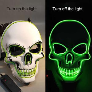 Halloween LED Mask Glowing Mask Skeleton Mask Full Face Halloween Role Dress Up Cosplay Mask For DJ Party