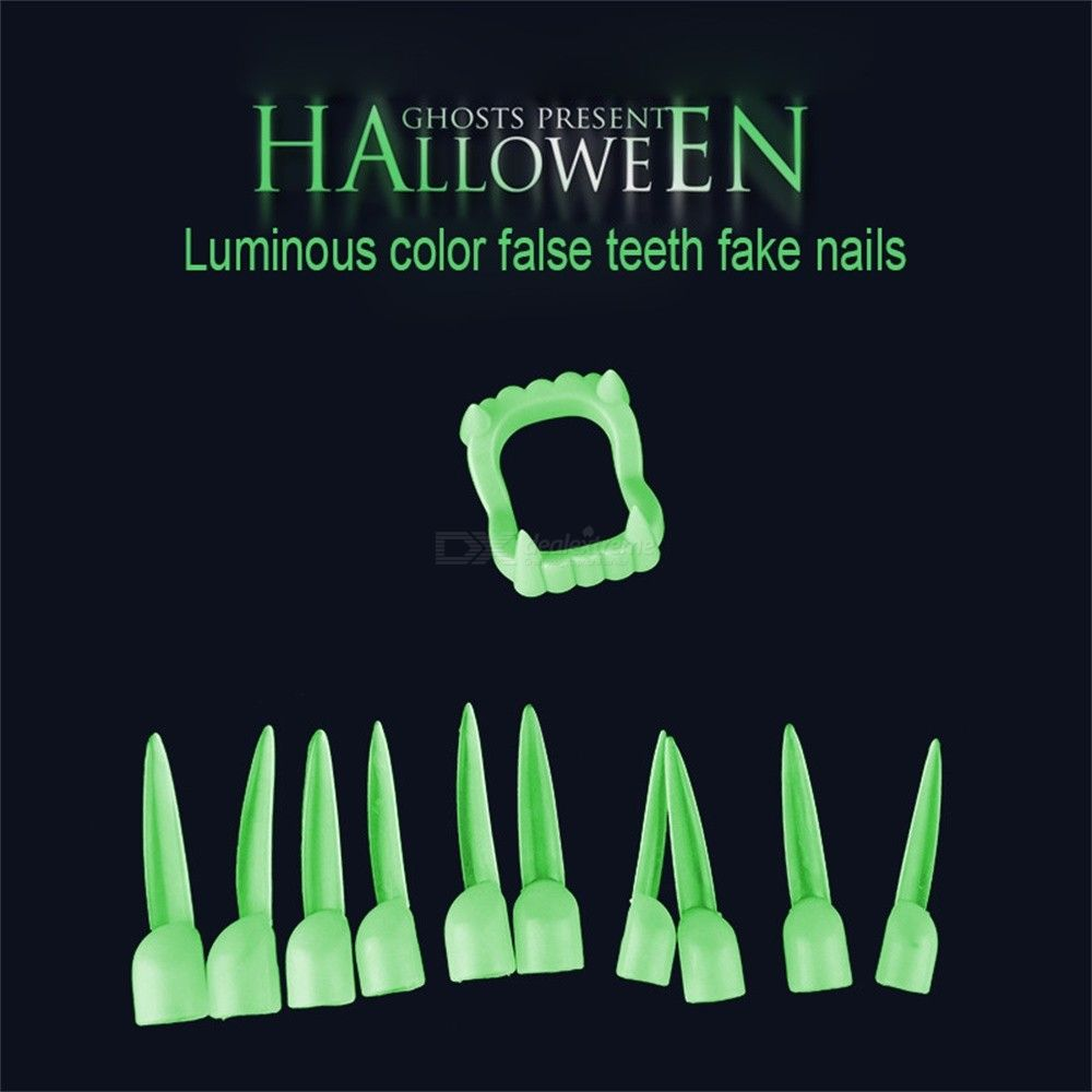 Halloween Party Luminous Vampire Dentures Cover Dress Up Toys Fake Teeth And Nails Set, Kids Adult Funny Cosplay Props