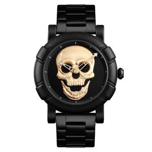 SKMEI 9178 Mens Watch Skull Quartz Watch Stainless Steel Male Water Resistant Wristwatch