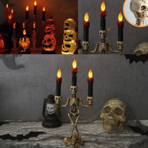 Plastic Skull LED Candle Light Lamp Skeleton Candlestick Horrible Prop For Halloween Ghost Festival Party Decoration