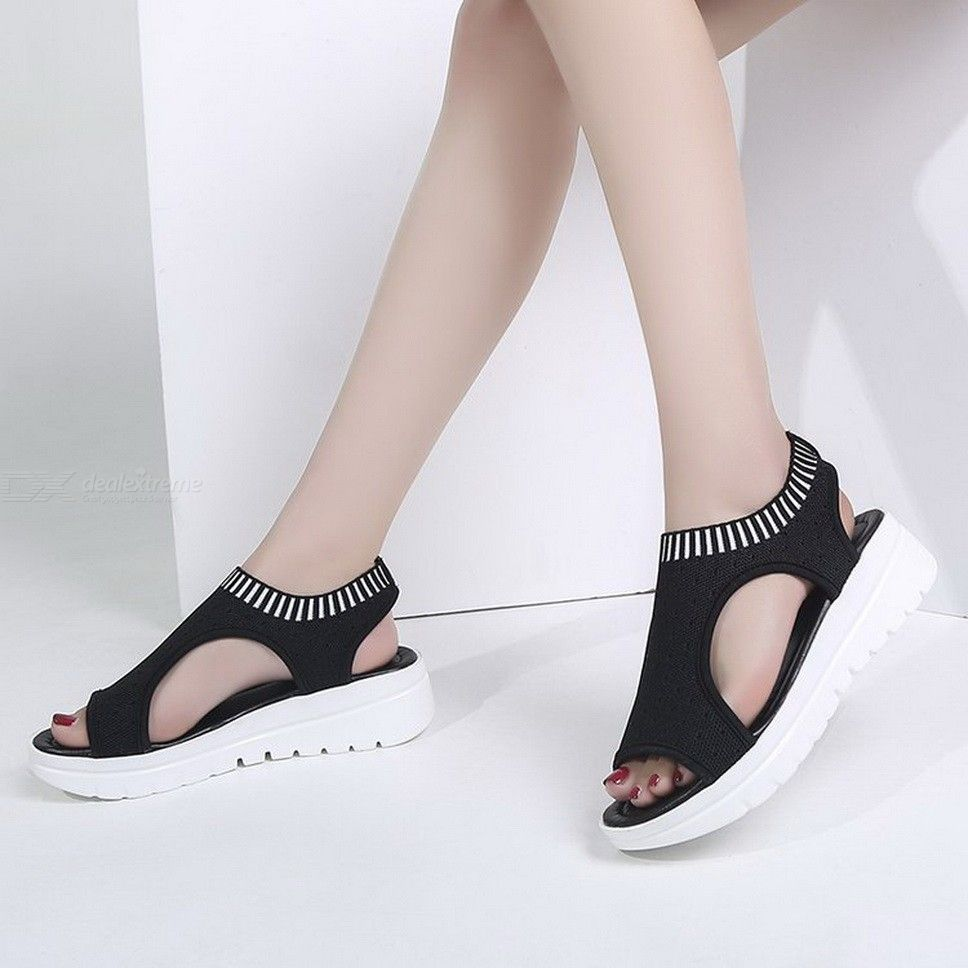 Breathable Mesh Platform Sandals Casual Elastic Ankle Strap Fly Weaving Shoes For Women