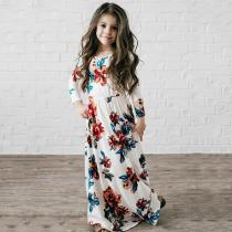 Long-Sleeve-Mother-Daughter-Dresses-Family-Look-Clothing-Mom-And-Daughter-Dress-Rose-Flower-Floral-Mommy-And-Me-Clothes