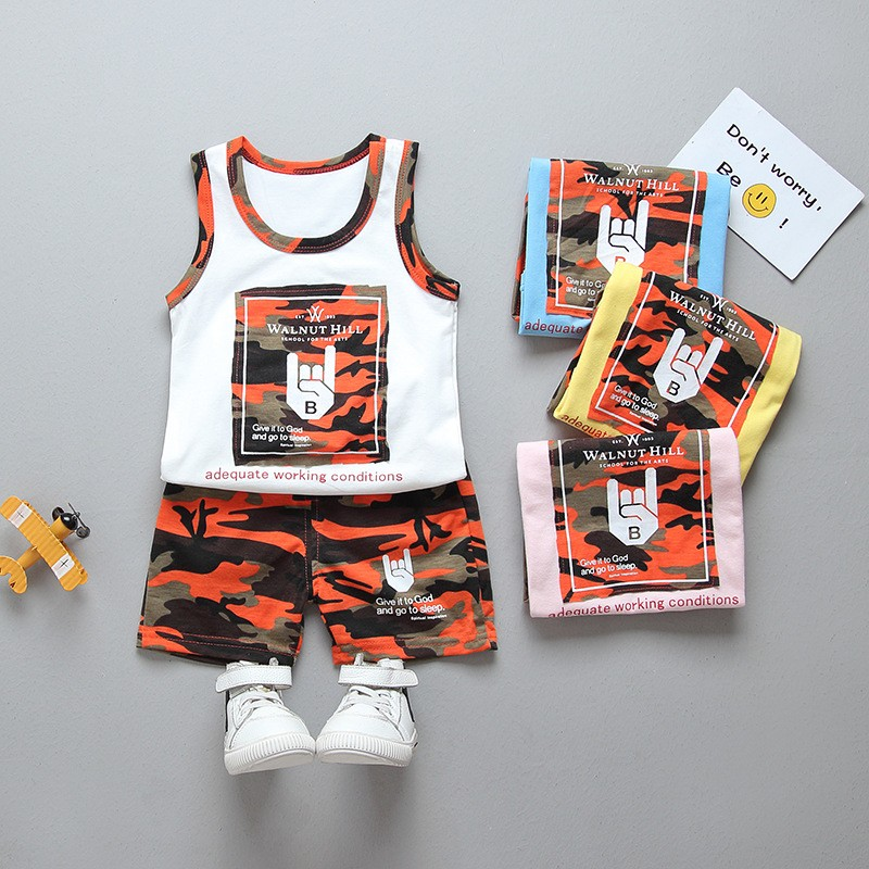 Cartoon Camouflage Pattern Sleeveless Vest 2pcs Boy Girl Vest Suit Cute Childrens Clothing 2018 Summer Clothes 1-4 Year