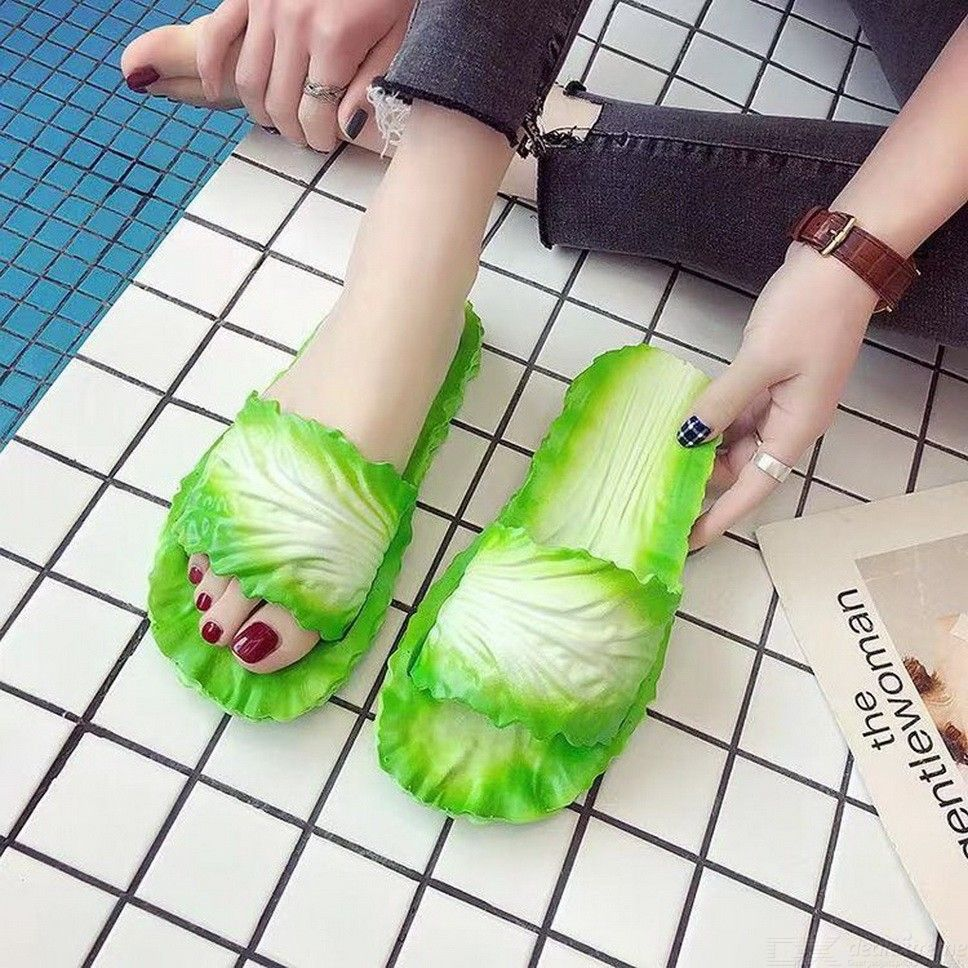 Toboggan Dans La Maison womens slippers funny cabbage slide sandals home bathroom flat non slip  soft slip on beach shoes