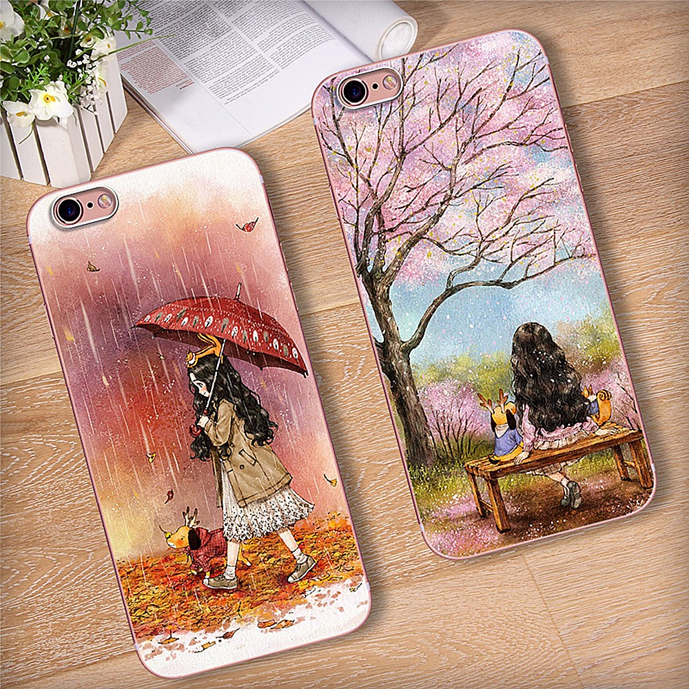 Shockproof Phone Case For Iphone 8 Girls Fairy Tale Mobile Phone Case For Iphone 6 Floral Soft Silicone Case For Iphone