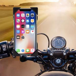 MP4422 Universal Motorcycle Bike Handlebar Phone Mount Holder USB Charger for 3.5-6 Inch Cell Phones