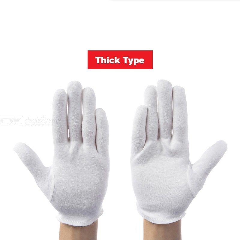 12 Pairslot White 100 Cotton Ceremonial Gloves For Male Female Serving WaitersdriversJewelry Gloves
