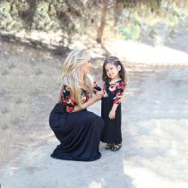 Family-Mother-Daughter-Bohemian-Maxi-Dress-Family-Matching-Outfits-Fashion-Mommy-And-Me-Floral-Pattern-Dress-Family-Set