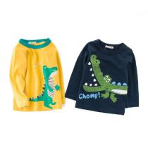 Autumn-Childrens-Clothing-Bottoming-Shirt-Cotton-Cartoon-Round-Neck-Girl-Shirt-Boy-Long-sleeved-T-shirt-Crocodile-Patte