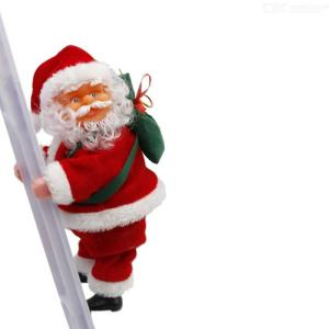 2019 New Christmas Electric Decor Toy Santa Claus Climb Ladder Electric Suede Toy For Super Market Company Kindergarten Home