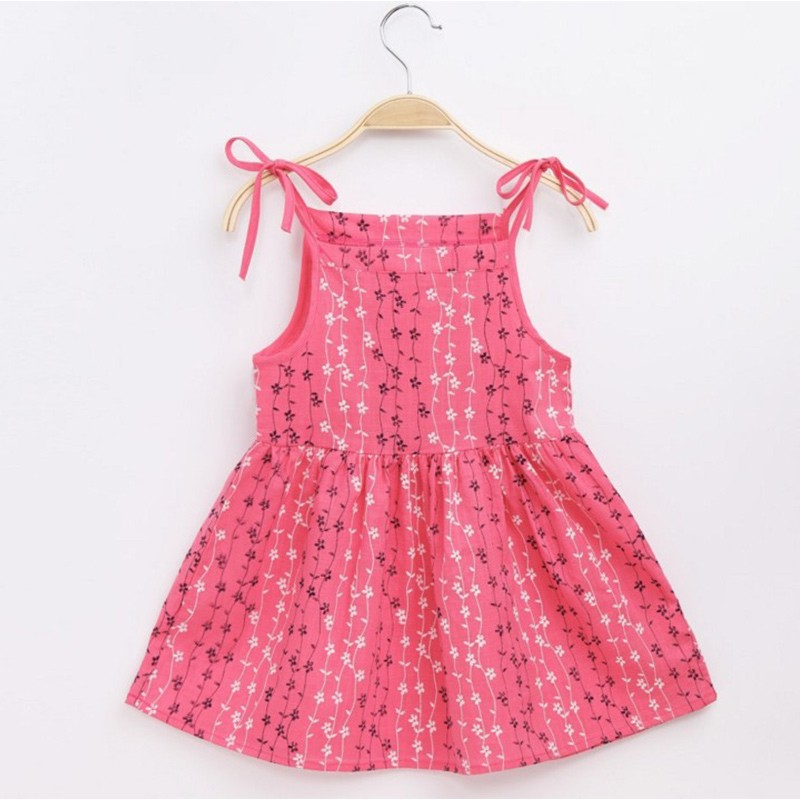 Summer Girls Sling Princess Dress Embroidered Flower Pattern Dress Simple Comfortable Girl Pink Sleeveless Dress 2-7Y