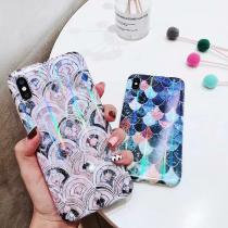 For IPhone 7 8 Plus 6s Blu-ray Fish Scale Cover Case For IPhone XS X 6 6s 7 8 Plus Laser Glossy Soft TPU Phone Case