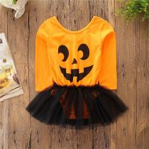 2018-Autumn-Winter-Girls-Clothes-Halloween-Pumpkin-Print-Dress-Fashion-Casual-Lace-Dress-Childrens-Clothes
