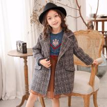 Fashion-Winter-Girl-Coat-Striped-Plaid-Woolen-Coat-Dark-Green-Autumn-Childrens-Clothes-Comfortable-Casual-Girls-Clothi