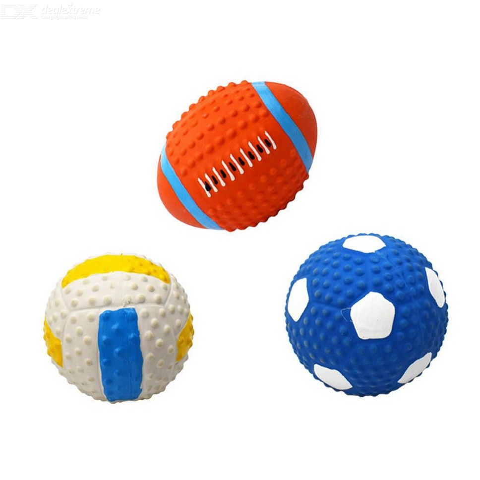 Oasismall Pets Latex Football Volleyball Toy Dogs Cats High Spring Squeak Ball Toys