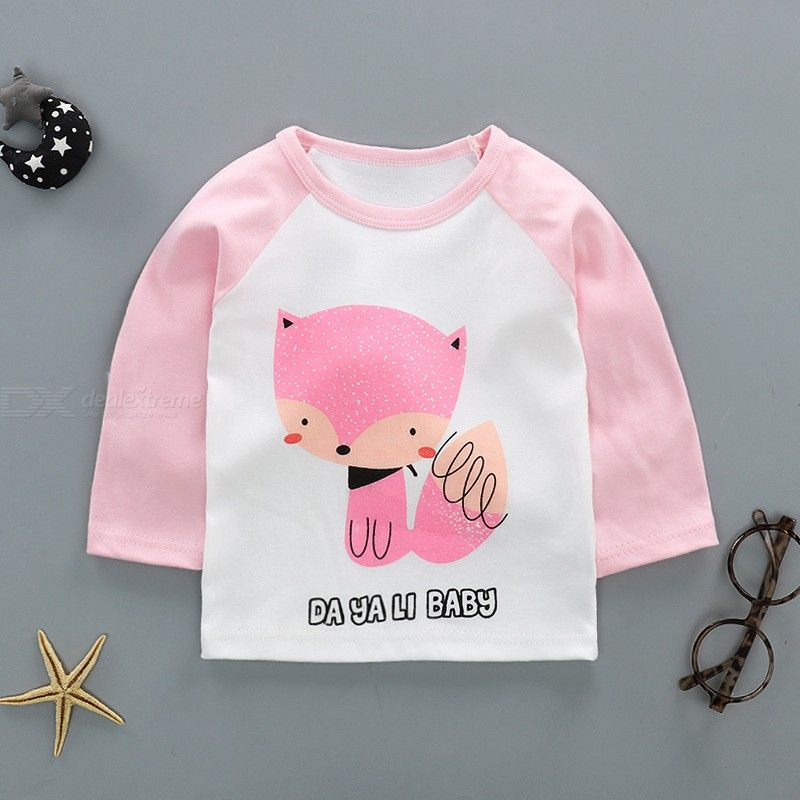 2018 Autumn And Winter New Childrens Long-sleeved T-shirt Childre Shoulder Buckle Boys And Girls Fashion Casual T-shirt