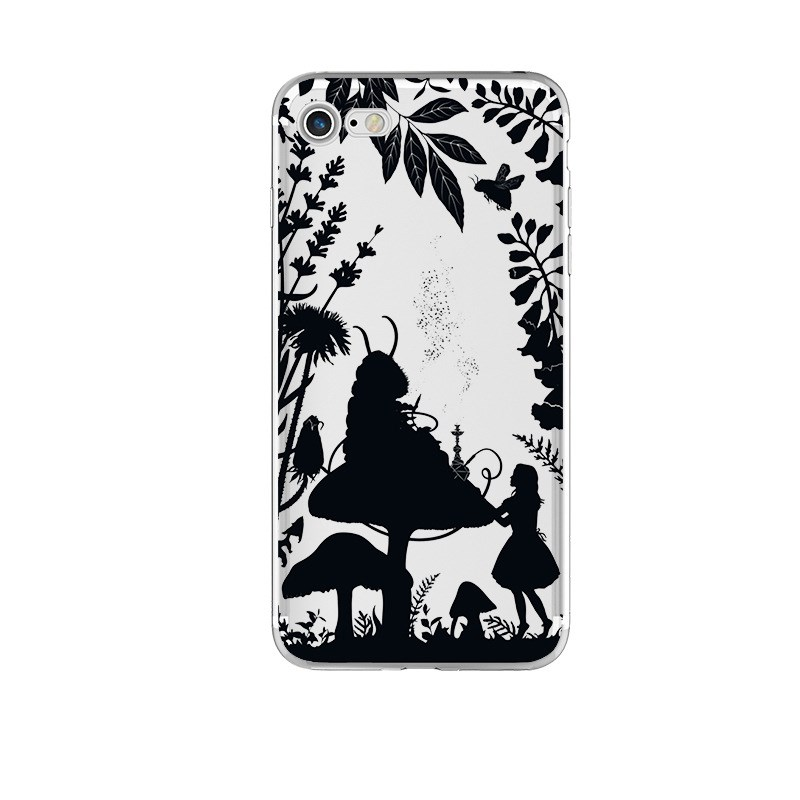 Transparent Phone Case For IPhone 6 6s 7 7plus 8 8plus X X Black Soft TPU Fairy Tale Painted Patterned Dirt-resistant Co