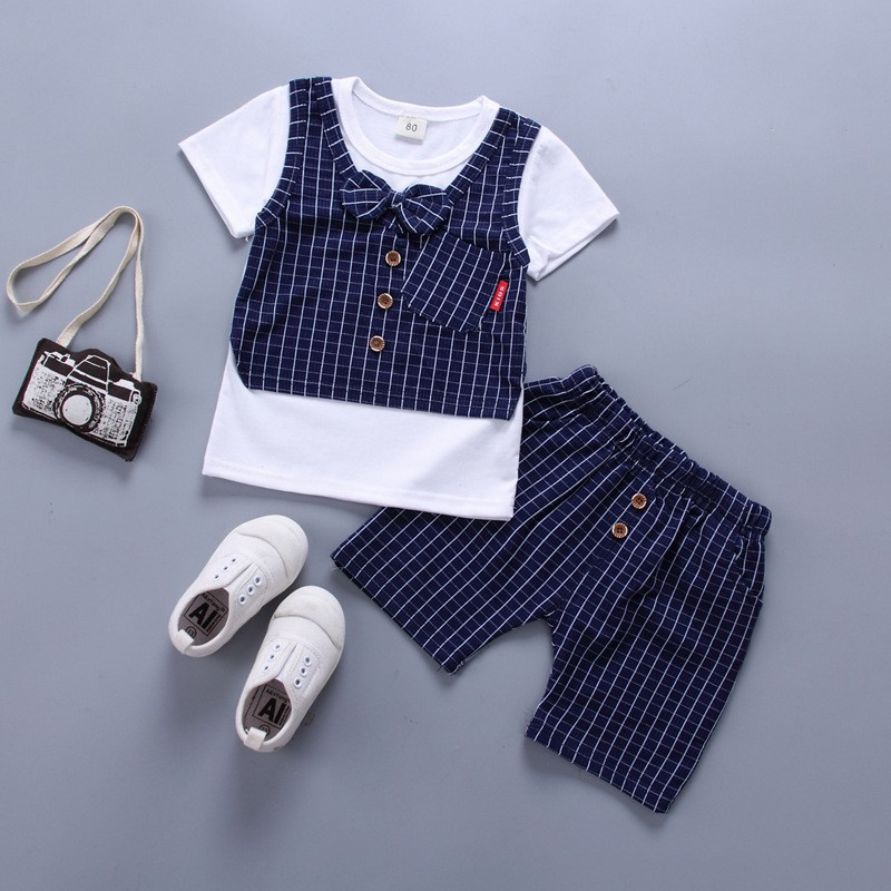 Baby Boys Cotton Clothes Kids Bowknot T-Shirt Shorts 2pcsSets Toddler Fashion Clothing Sets Children Summer Clothes