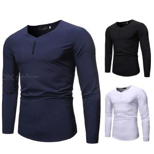 Mens Fashion Casual Long Sleeve T-shirt Male Solid Color Square Collar Tops
