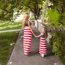 July-4th-Family-Matching-Dress-Mother-Daughter-American-Flag-Stripe-Summer-Dresses-Mommy-And-Me-Dresses-Family-Outfits