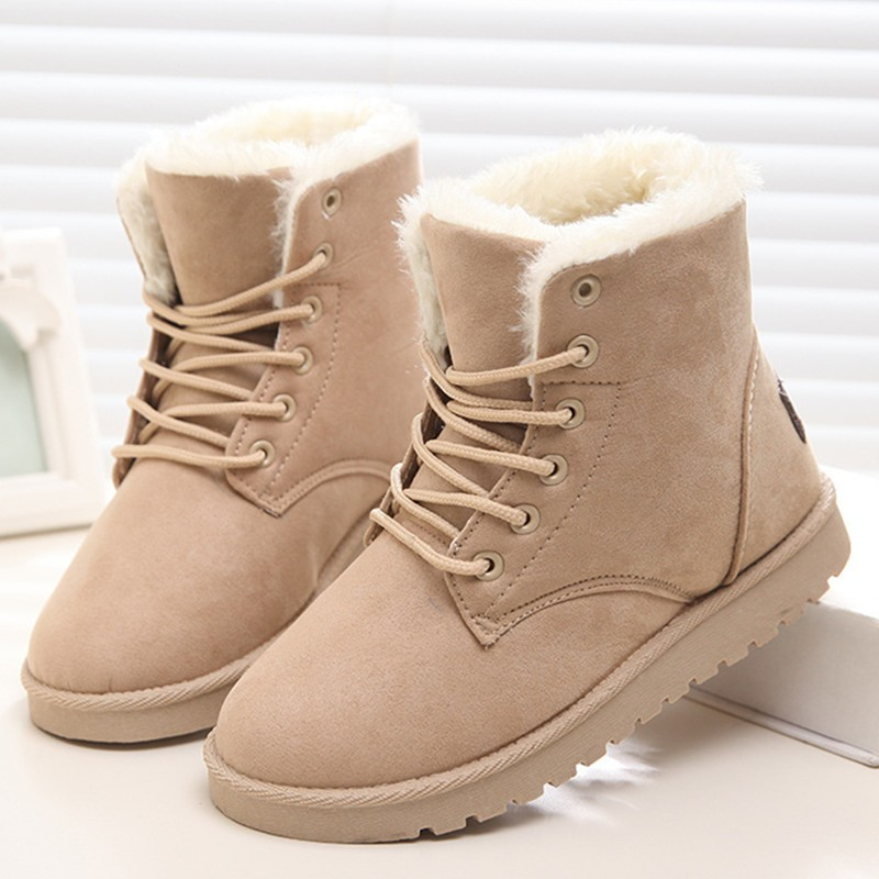 Fashion | Winter | Ankle | Women | White | Snow | Warm | Lady | Shoe | Boot | Lace | Fur | Up