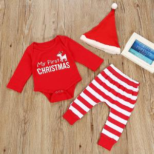 Baby Boy Clothes 2018 Christmas Moose Leisure Long Sleeved Romper Tops + Stripe Pants 2PCS Infant Clothing Kids