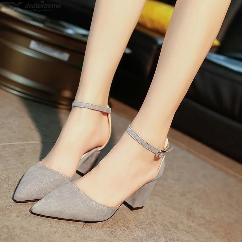 Womens Pointed Toe High Block Heel Sandals Ankle Strap Suede Upper 7cm Heels Shoes