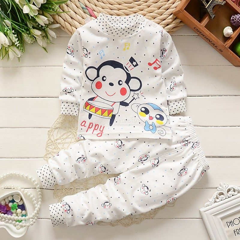 2018 Autumn Baby Girl Clothes Suit Cotton Cartoon Underwear Home Service Warm Breathable Baby Clothes 0-2 Years Old