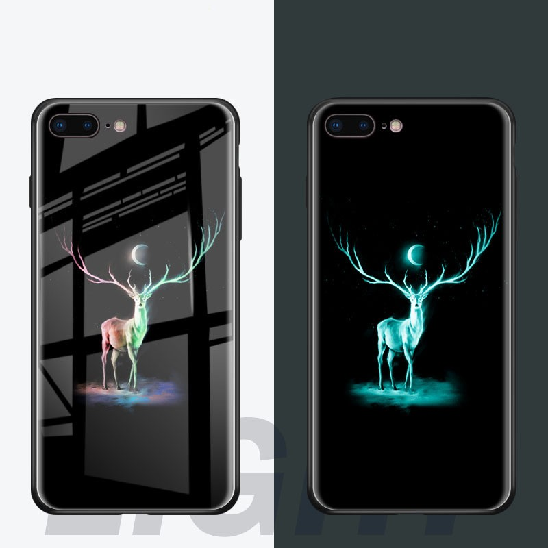 Luxury Ultra-thin Tempered Glass Case For IPhone 6 7 8 Plus Shockproof Phone Case For IPhone X Luminous Glitter Phone Ca