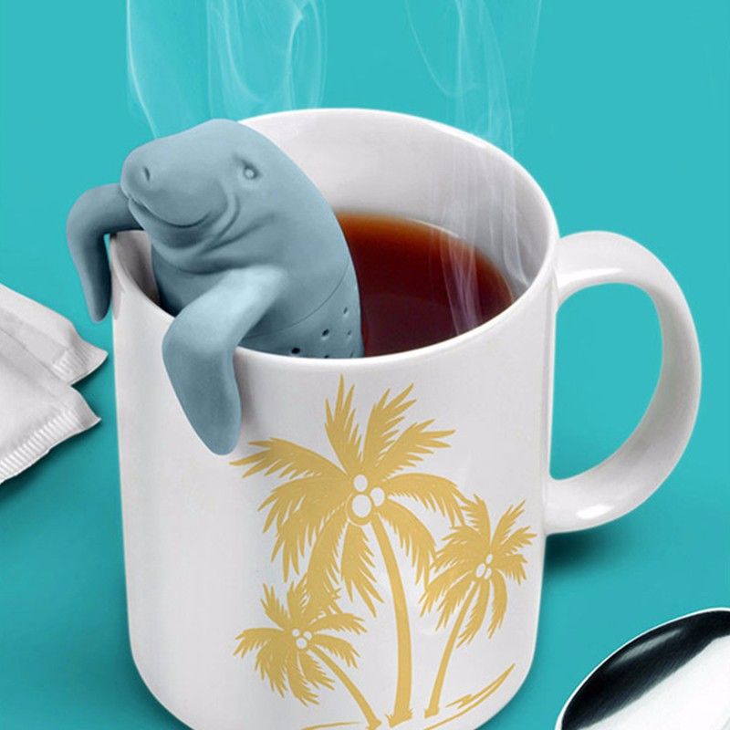 Tea Strainers Maker Teabags Life Helper Silicone Tea Leak Tea Infusers Filters For Teapots Cute Cartoon Manatee Tea Filt
