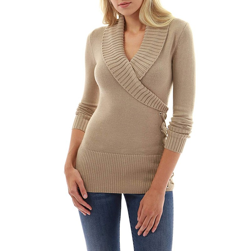 2019 Spring Long Autumn Knitted Sweater Women Pullover Tops Sexy Deep V-neck Ladies Casual Elastic Sweater Pullover Jumper